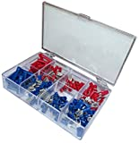AERZETIX: Surtido de 150 terminales electricos planos cilindrico ojo tenedor azul rojo C11877