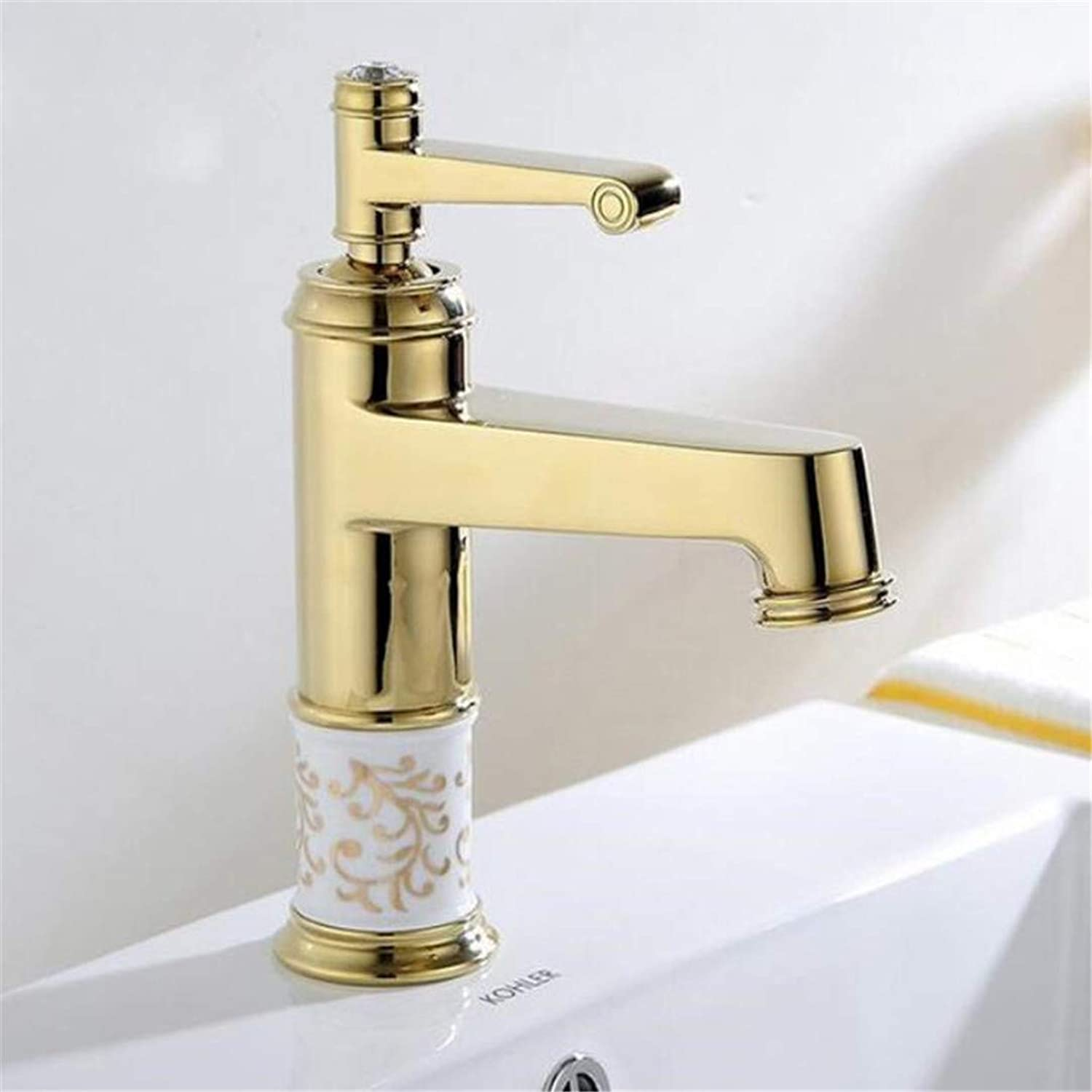 Hot and Cold Basin Faucet Hole Sitting gold-Plated Ceramic Audience Basin Faucet Washing Hands