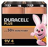 Duracell Ultra, lot de 4 piles alcalines Type 9V 1,5 Volts 6LP3146 MN1604 idéal pour détecteur de fumée (visuel non contractuel)