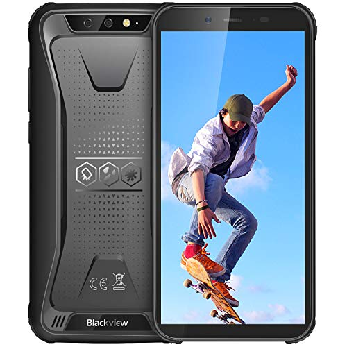 Rugged Cell Phones Unlocked Blackview BV5500 IP68 4400mAh Battery Android 8.1 Waterproof Unlocked Smartphone, 2GB+16GB 5.5 inch Quad Core[MIL-STD 810G] Face ID Blackview Rugged Phone, Black