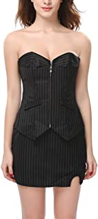 Women's Zipper Striped Casual Corset with Skirt, Boned Corset Overbust Body Shaper Bustier Set, Fully Show Your Beauty (Si...