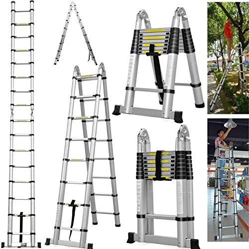 16.5Ft/5M Aluminum Telescopic Ladder for Indoor Outdoor Folding 8x2 Steps Ladder Multi-Purpose Extend Portable Ladder Lightweight Extendable A-Frame Telescoping Ladder 330lbs Capacity EN131 Certified