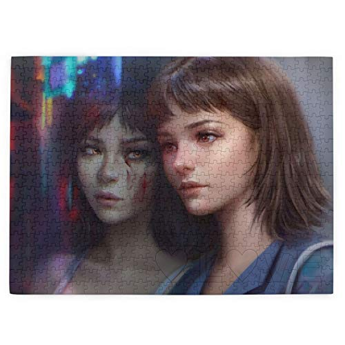 Jigsaw Picture Puzzless For Adults 520 Piece, Ime Anime Girls Brunette Dark Hair Brown Eyes Yellow Eyes Blood City Lights Mirrored Perfect Blue Short Hair ,15' X 20.4' Educational Family Game Wall