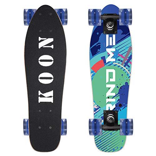 KOON Skateboards 22 Inch Complete Mini Cruiser Skateboard for Beginner Boys and Girls (Grind Me)