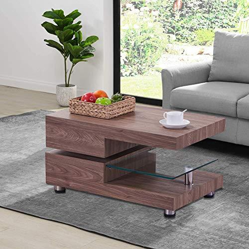 GOLDFAN Couchtisch Glas Wohnzimmertisch Kaffeetisch Sofatisch Braun Holz haben Drehbar Desktop 360°