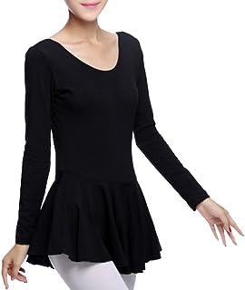 comprar comparacion Linnuo Mujer Tutú de Ballet Vestido de Ballet Leotardo Manga Larga Ropa de Danza Ballet para Mujer