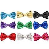 Pajarita con Lentejuelas, 9 Pack Ajustable Unisexo Pajarita Glitter Corbata de moño Bow Tie Hombre Mujere Niño Pajarita para Fancy Disfraz Fiesta Accesorio - 12 x 7cm (Mezcla color)