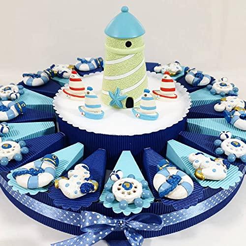Torta bomboniera portaconfetti Battesimo Nascita Maschietto con Confetti Stile Mare (Torta Marinaio magneti)