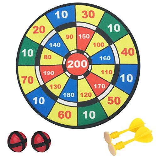 Playko 11.75 Inch Dartboard Set – Indoor Target Game with 2 Balls, 2 Darts - Dartboards for Kids - Indoor Games for Adults - Sticky Dart Set - Kids Target Game for Birthdays, Home, Office