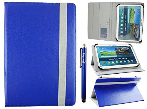 Emartbuy Universal 10-11 Pollici Royal Blu Angolo Multi Portafoglio Custodia Case Cover per Carte di Credito Elastico Grigio E Penna A Stilo Adatto per Dispositivi Selezionati Elencati sotto