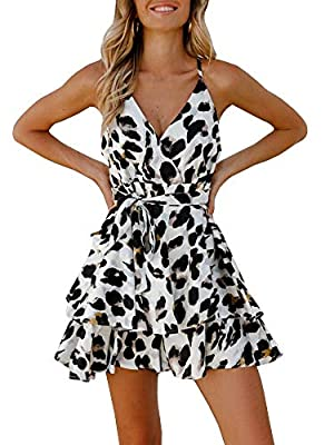 Valphsio Women Off Shoulder Sleeveless Straps Floral Print Ruched Short Jumpsuit Summer White
