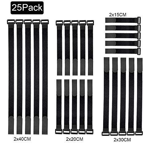 Cinta Velcro, Bridas Velcro, 25 piezas Ajustable Cierre de Velcro Cable Ties Organizador Negro