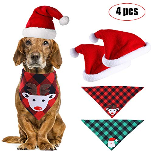 Movein Haustier Halstuch, Bandana für Hund, 2 Stück Haustier Weihnachtsmütze und 2 Stück Kariertes Hundehalstuch, für kleine, mittelgroße, große Hunde und Katze (Style 1)
