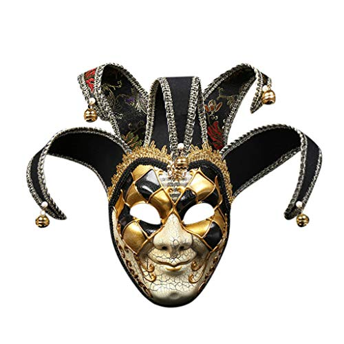 JXQ-N Maskerade Maske Vintage Venezianische Gesichtsmaske Joker Vollmaske dekorative Kunst Maske Venetian Party Maske Halloween Karneval Fasching Mardi Gras Maske (Schwarz 1)