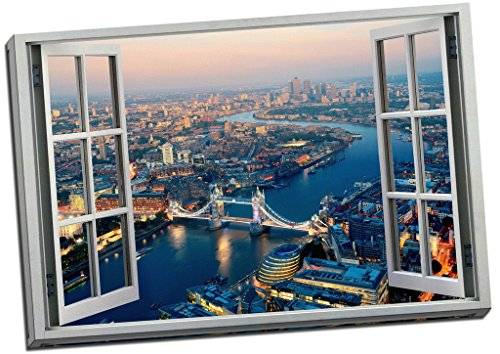 Classic London Aerial View 3D Window Effect Canvas Print Picture Wall Art Large 30x20 Inches