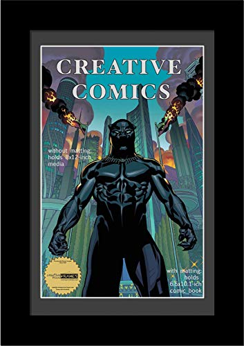 CreativePF [8x12bk-b] Collectors Art Comic Book Frame with Black Mat, Insert for 6.6x10.1 Comic w/Easel Stand and Wall Hanger