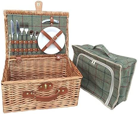 Red Hamper Wicker Willow 4 Person Green Tweed Fitted Picnic Basket