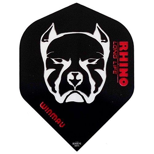 Winmau Darts Sport Rhino Extra Dick Standard Flights 10-Piece Pack - Schwarz & Weiß Devil Hund, One Size
