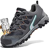 ASHION Stahlkappe Sicherheitsschuhe Herren, Industrie Handwerk Schuhe Atmungsaktiv Leichte Reflektierende Arbeitsschuhe(A-Grau,44 EU)