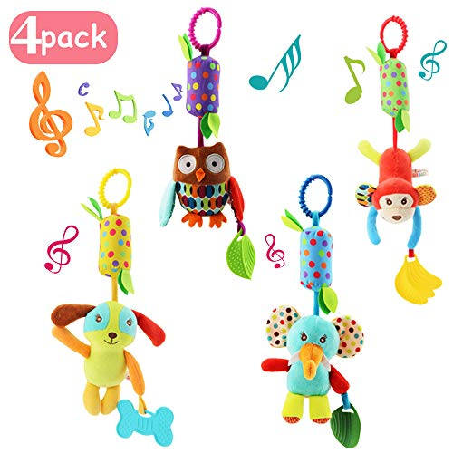 Joyshare 4 PCS Baby Soft Hanging Rattle Crinkle Squeaky Toy - Baby Toys for 0 3 6 9 to 1 Animal Ring Plush Stroller Infant Car Bed Crib Travel Activity Hanging Wind Chime with Teether for Boys Girls