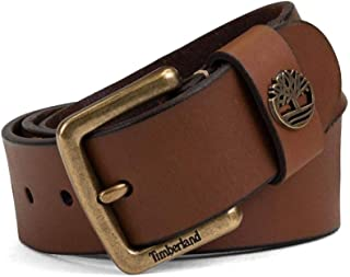 Timberland Men's Genuine Leather Belt 38MM Metal Tree Logo Black