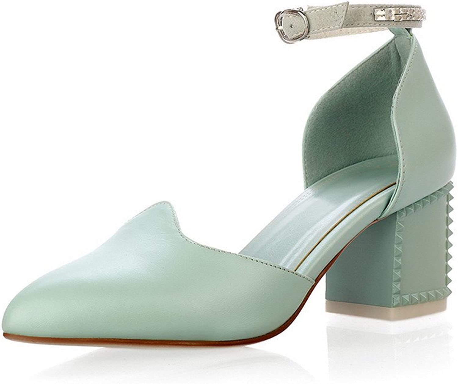 AmoonyFashion Womens Closed Pointed Toe Mid Heel Soft Material PU Solid Pumps, Cyan, 10 B(M) US