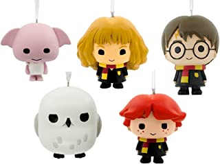 Set of 5 Hallmark Harry Potter Ornaments Including Harry, Ron, Hermione, Hedwig and Doby