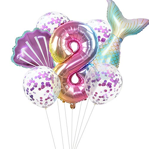 Haosell Großes Meerjungfrau Luftballon 8 Jahr Kindergeburtstag Deko Mädchen Bunt Meerjungfrau Ballon - 1x XXL Meerjungfrau Ballon+Zahl 8 Zahlen-Ballon +1 Schale Ballon + 4 x Konfetti-Ballon