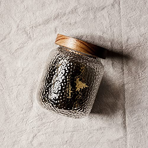 DYHDW Botella de vidrio martillada frasco hermético alto borosilicato para condimentos de cocina con tapa Tarro de almacenamiento de madera Práctico tarro de té multigrano para cocina y hogar