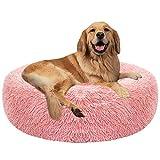 VZATT Donut Haustierbett, Rund Hundekissen, Runde Hundebett, Rundes Plüsch-Katzenbett-Hundehaus-Welpen-Kissen-tragbare warme weiche Bequeme Hundehütte, 50CM