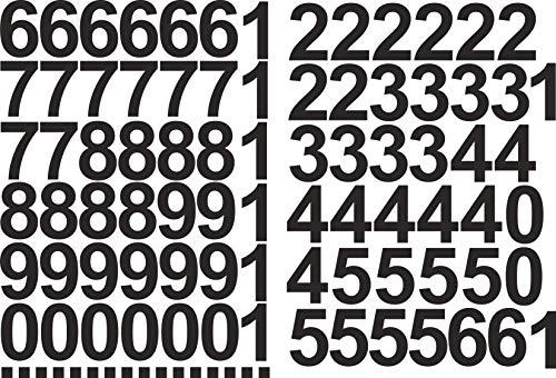 Zahlen Aufkleber 5cm Hoch - in Schwarz - 96 KLEBEZAHLEN - Selbstklebende Ziffern und Nummern 0-9 - Ideal für den Außenbereich da Wasser und Wetterfest