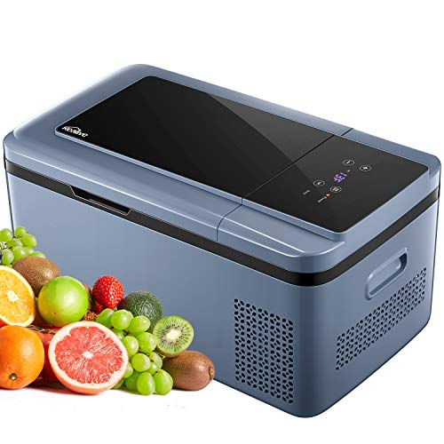Kompressor-Kühlbox Tragbare Elektrische Kühlbox/Gefrierbox(-25 °C bis 20 °C) für Normal- und Tiefkühlung, Kealive 18 Liter LCD-Display mit 12 V und 230 V für Auto, Lkw und Steckdose, Eco & HH-Modus