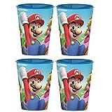 Super Mario - Juego de 4 vasos (plástico)