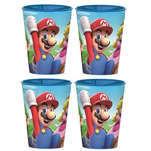 Super Mario  Juego de 4 vasos de zumo  Mario  Luigi  Peach  vasos de plstico