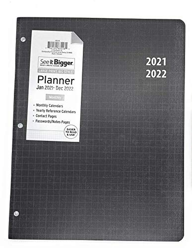 PlanAhead See it Bigger Home/Office 2 - Year Monthly Planner, January 2021- December 2022, Specialized Large Print, 8.5'' X 11'' Black