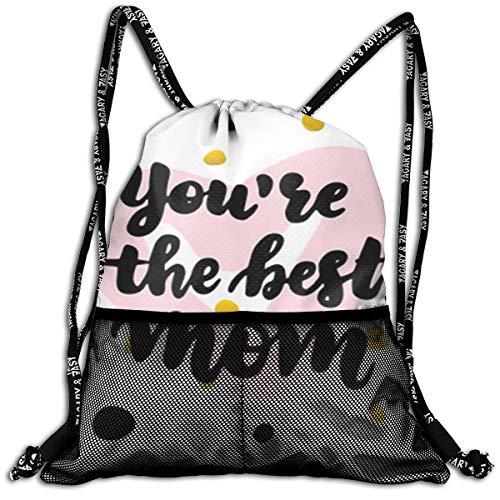 Taslilye You Are Best Mom Drawstring Backpack Cooler Backpacks Front Zipper Mesh Bag For Women Men Travel Fitness