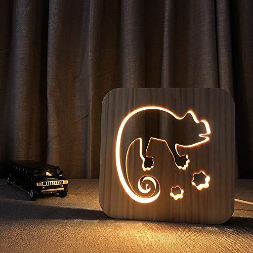 VIWIV Lámpara de Escritorio Lámpara de Madera de Madera luz de Dibujos Animados camaleón 3D Hueco USB Creativo Decorativo led lámpara Dormitorio habitación de niño cumpleaños cump