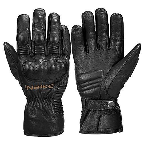 INBIKE Winter Motorcycle Gloves, cold weather Thermal Leather Full Finger Motorbike Gloves Black Large