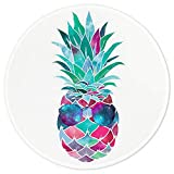 ITNRSIIET Pineapple Round Mouse Pad, Customized Premium-Textured Mouse Mat, Green Pineapple on White Background Mouse Pad, Non-Slip Rubber Base Small Mousepad, 7.87×7.87×0.12 inches