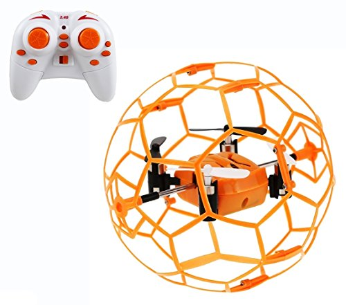 Haktoys Mini RC Drone in a Ball Shape, Protective Frame Cage 2.4GHz 4 CH 3D Flip/Roll LED RC Quadcopter with 6 Axis Gyroscope and Slow-Fast Speed Modes (HAK901)