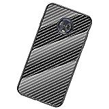 UKDANDANWEI Moto G6 Coque,Etui de Téléphone en Fibre de Carbone et Verre Trempé Transparent...