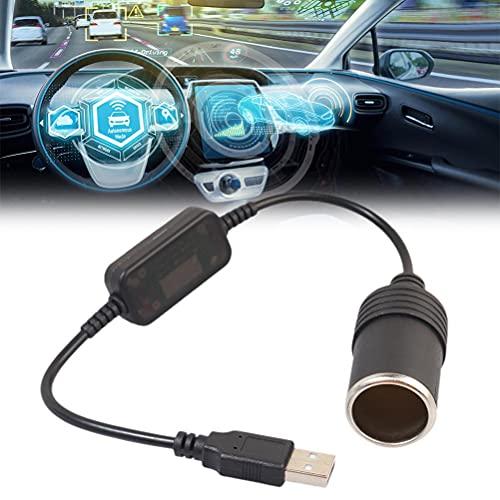 Convertidor de Encendedor de Cigarrillos 5V a 12V Negro USB a Encendedor de Coche Convertidor de Enchufe Fuente de alimentación Encendedor de Cigarrillos