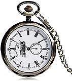 ADSE Reloj de Bolsillo Vintage para Hombre, Reloj de Bolsillo con Engranaje Esqueleto Transparente Plateado para Hombre, Reloj mecánico de Mano con Cuerda Colgante para Hombre