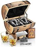 Whiskey Stones Gift Set For Men In Whiskey Barrel Gift Box | 8 Whiskey Rocks, 2 Whiskey Glasses in a Whiskey Box Gift Set | Granite Bourbon Stones | Whiskey Kit For Men: Dad, Husband, Boyfriend