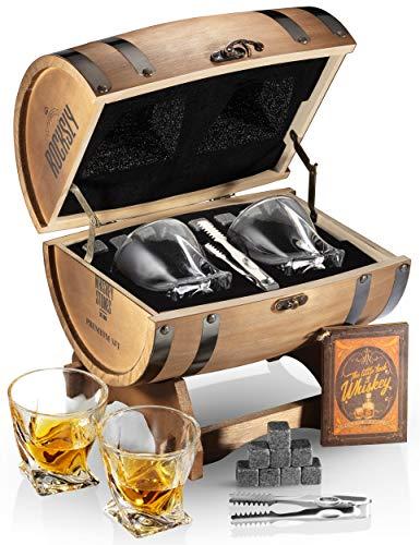 Whiskey Stones Gift Set For Men In Whiskey Barrel Gift Box | 8 Whiskey Rocks, 2 Whiskey Glasses in a Whiskey Box Gift Set | Granite Bourbon Stones | Whiskey Kit For Men: Dad, Husband, Son, Boyfriend
