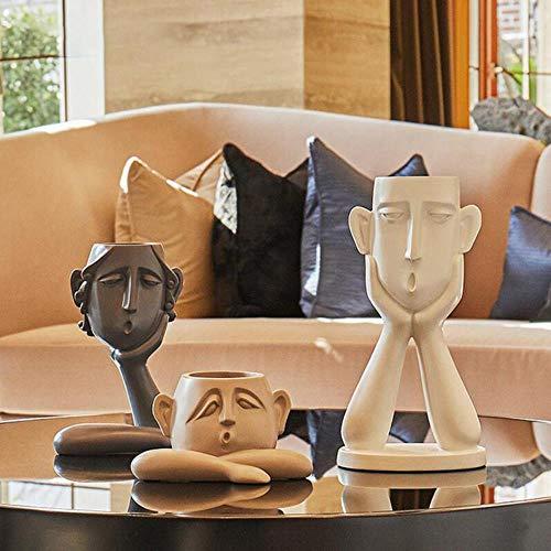 FICI 3 Stks/set hars vaas Noordse menselijk gezicht Art Bloempot Minimalistische Figuur Ambachten Ornament Home decoratie accessoires