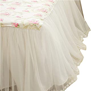 LELVA Dust Ruffled Bed Skirts Twin Size Wrap Around Lace Bed Ruffle with Platform 18 inch Deep Drop Cotton Floral Girls Bed Sheets White