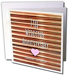 3dRose 7th Wedding Anniversary gift - Copper celebrating 7 years together- seventh anniversaries- Greeting Cards, 6 x 6 inches, set of 6 (gc_154436_1)