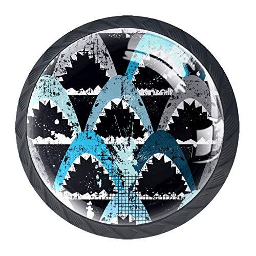 Juego de 4 pomos de cristal para armario de 1.18 pulgadas, tiradores de cajón transparentes para cocina, baño, aparador y armario, tiburón marino océano
