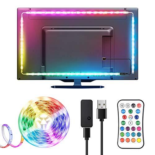 Ruban LED TV 3M, TOPYIYI Bande LED 5050 RGB USB, 16 Couleurs et 21 Modes Bande Lumineuse avec Télécommande, Multicouleur pour 40'-65' HDTV/PC Moniteur Maison Cuisine Fête[2x95cm+2x55cm]